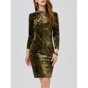Velvet Ruched Slimming Bodycon Dress