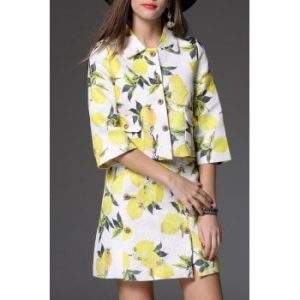 Print Short Jacket With A Line Skirt