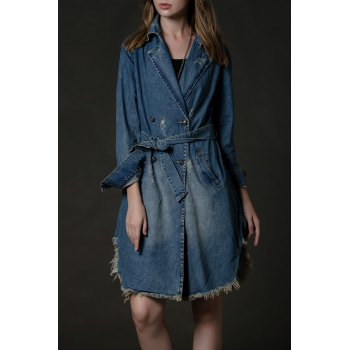 Frayed Hem Jean Coat with Belt
