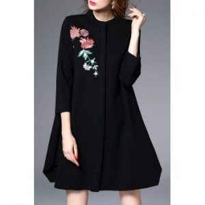 Floral Embroidered Swing Coat