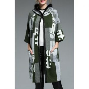 Hooded Wool Blend Graphic Coat