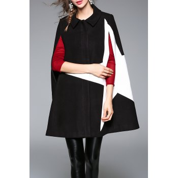 Oversized Color Block Cape Coat