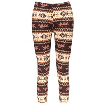 Hit Color Print Stretchy Leggings For Women