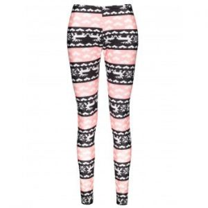 Color Block Heart Printed High Waist Bodycon Leggings