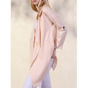 Lapel Collar Solid Color Pockets Trench Coat