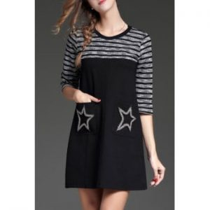 Beaded Stars A Line Stripe Dress