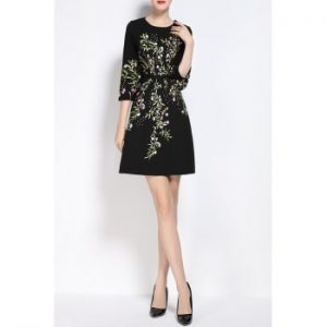 Floral Embroidered High Waist A Line Dress