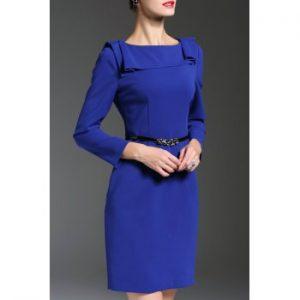Belted Boat Neck Fitted Work Dress