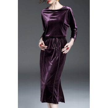 Drawstring Long Sleeve Velvet Dress