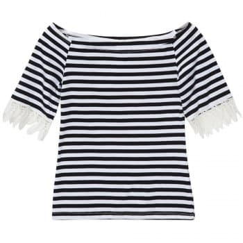 Boat Neck Short Sleeves Lace Splicing Striped T Shirt For Women
