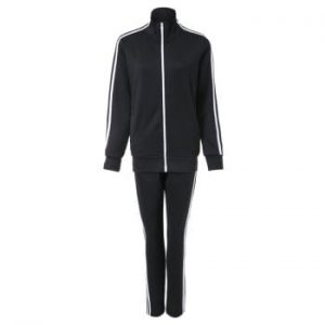 Active Stand Collar Long Sleeve Zippered Coat   Spliced Elastic Waist Pants Twinset For Women