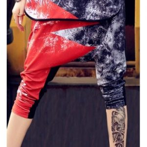 Punk Elastic Waist Loose Fitting Printed Ninth Pants For Women