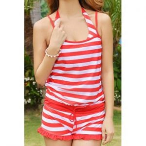 Fashionable Halter Push Up Striped Three Piece Swimsuit For Women