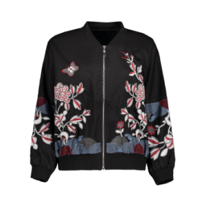 Embroidered Puffed Sleeve Pilot Jacket