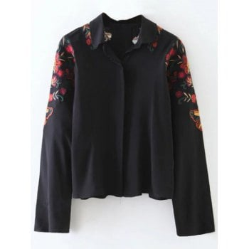 Shirt Neck Floral Embroidered Cropped Shirt