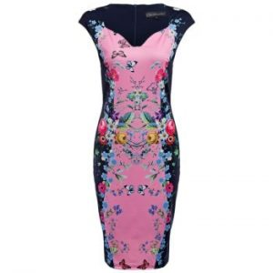 CAIDIENU Sweetheart Neck Allover Floral Print Women Bodycon Dress