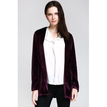 Shawl Collar Long Sleeve Deep Purple Jacket