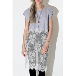 Jewel Neck Short Sleeve Lace Spliced T Shirt