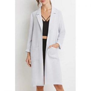 Lapel Pocket Solid Color Long Sleeve Trench Coat