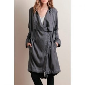 Long Sleeves Solid Color Waisted Irregular Hem Trench Coat