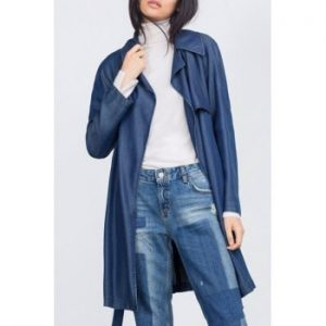 Lapel Long Sleeve Belted Chambray Trench Coat