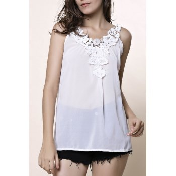 V Neck Sleeveless Laciness Hollow Out Tank Top