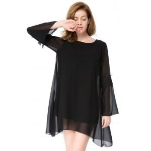 Round Collar Long Sleeve Solid Color Asymmetrical Dress