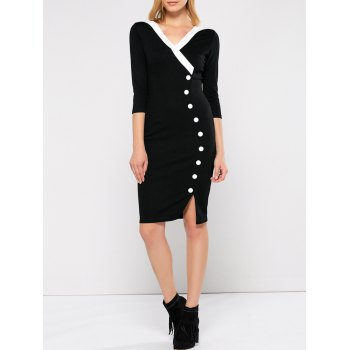 V Neck Front Slit Fitted Dress
