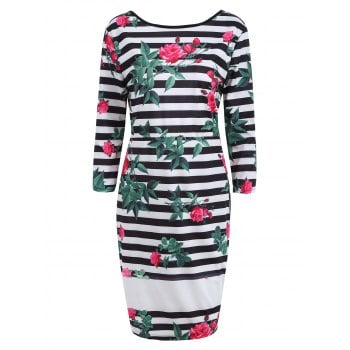 Floral Striped Backless Fitted Dress