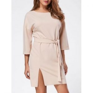 Side Split Mini Shirt Dress