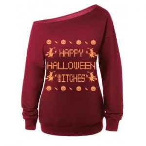 Witches Print Halloween Sweatshirt