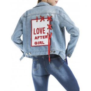 Lace Up Embroidered Graphic Denim Jacket