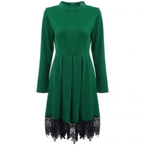 Stand Round Long Sleeve Lace Spliced Color Women Dress