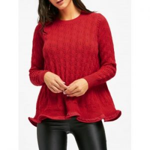 Open Knit Ruffle Long Sweater