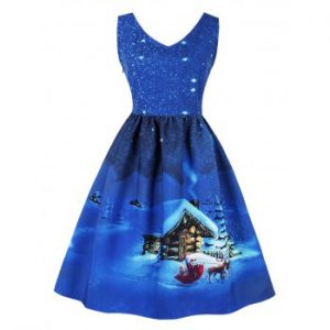 Snowflake Cottage Print Christmas Dress