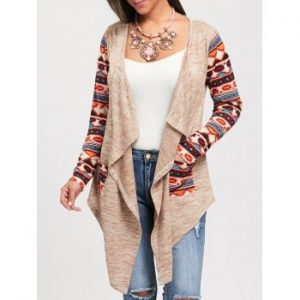 Long Sleeve Ethnic Print Draped Cardigan