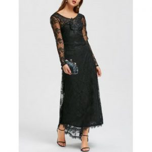 Sheer Tiny Floral Lace Dip Hem Maxi Dress