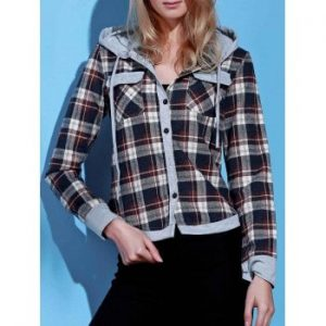 Hooded Long Sleeve Gingham Single Breasted Blouse