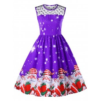 Christmas Santa Claus Print Midi Dress