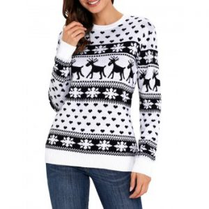 Christmas Snowflake Deer Jacquard Sweater