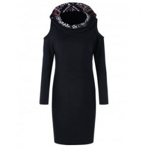 Cold Shoulder Snowflake Long Sleeve Hooded Dress