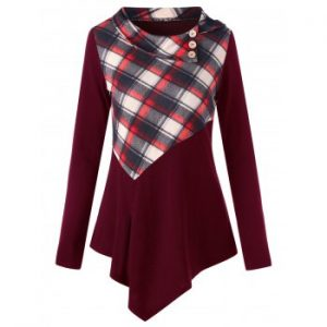 Plaid Panel Irregular Long Sleeve T shirt