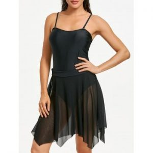 One Piece Mesh Skirted Swimsuit