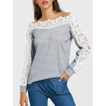 Long Sleeve Lace Insert T shirt