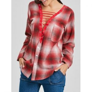 Lace Up Plaid Shirt