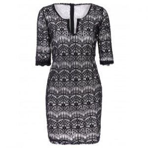 Plunging Neckline 3 4 Sleeve Lace Dress For Women