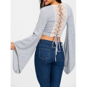 Bell Sleeve Lace Up Crop Top