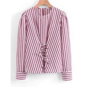 Lace Up Striped Blouse