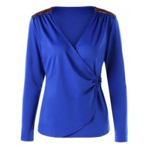 Long Sleeve Surplice T shirt