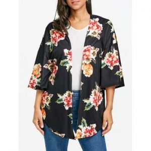Floral Print Side Slit Cardigan